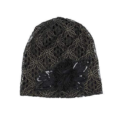 HAOLIEQUAN Sombreros De Turbante para Las Mujeres De Encaje De Punto Cap Slouchy Beanie Skullies Gorras Moda Flor Mujer De Invierno Elegante Mariposa Gorros Sombrero, Negro