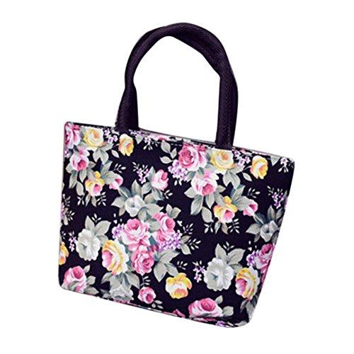 Damen Frauen Mädchen Printing Canvas Shopping Handtasche Schulter Tote Shopper Tasche (Black) - Damen-schulter-laptop-tasche