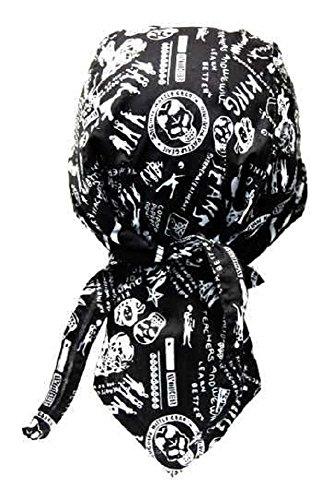 Rocker & Biker Bandana Cap (Schwarz & Weiß) -