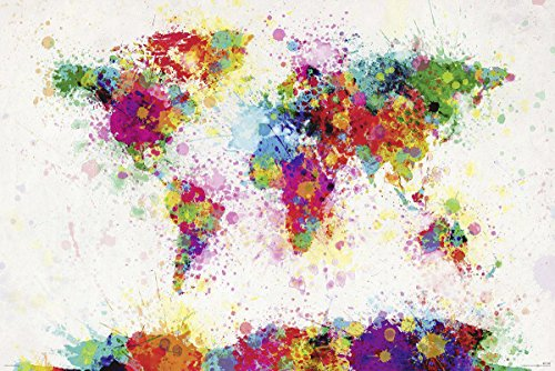 Close Up Michael Tompsett World Map Drop Paint - XXL Weltkarte in Wasserfarben Riesenposter 140 x 100 cm - Tompsett Michael Weltkarte