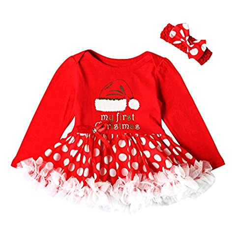 Sunenjoy Enfant Bébé Filles 2 PCs Barboteuse Robe Rouge Lettre Dentelle Princesse Tutu Christma Élément Combinaison + Bowknet Handbands Tenues Ensemble pour 0-18 mois (12-18 mois, Chapeau de Noël)