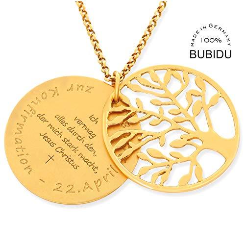 Konfirmation Kette Gold 925 Silber Gravur Lebensbaum ❤️ Namenskette Konfirmationskette ❤️ Kommunion Spruch ❤️ Geschenk Junge Mädchen Kinderkette   HANDMADE IN GERMANY