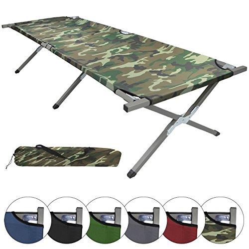 BB Sport Feldbett XXL 200 x 70 x 52 cm stabiles Campingbett mit Stahlrohr verstärkt bis 150 kg belastbar, Farbe:Military