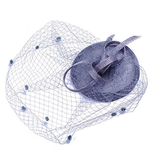 WYJHNL Fascinator Hüte für Frauen, Cocktail Net Mesh Blume Fascinator Hut Kopfbedeckung mit Schleier und Clip Tea Party Hüte für Frauen,Purple