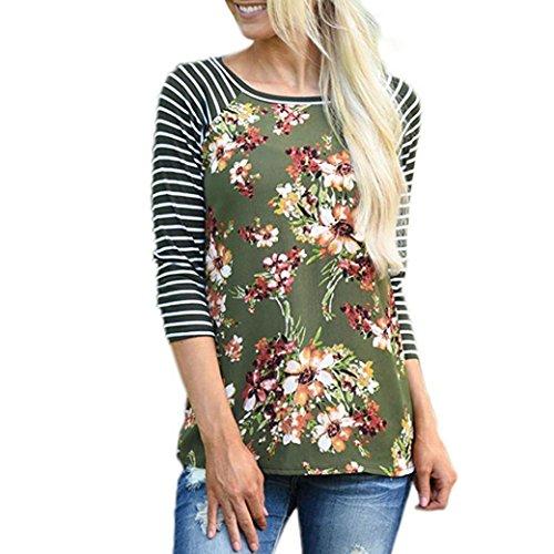 Damen Shirt, funic Frauen Herbst gestreift Floral Druck Shirt Casual Lange Ärmel Bluse Tops, grün, M -