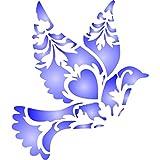 Deko Vogel Schablone–wiederverwendbar stilisierten Animal Wildlife Wand Schablone–Vorlage, auf Papier Projekte Scrapbook Bullet Tagebuch Wände Böden Stoff Möbel Glas Holz usw. Größe S
