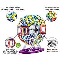 Jasonwell Bloques de Construcción Magnéticos para Niños 133 Piezas Bloques Magnéticos 3D Juguetes Construcción Magnéticos Imanes Regalos y Juego Magnético Creativo y Educativo de 3 4 5 6 7 8 Años de Jiaxin