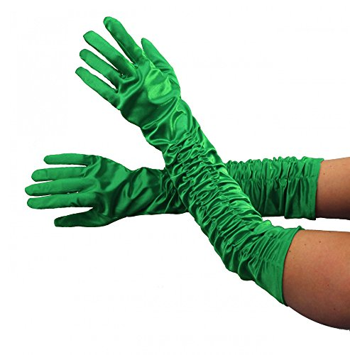 Foxxeo Deluxe Gloves Largo Verde Brillante Disfraz