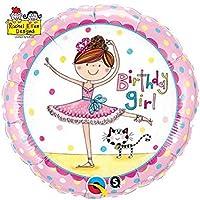 Qualatex 5054245,7cm Round Birthday Girl ballerina Rachel Ellen foil balloon 01ct