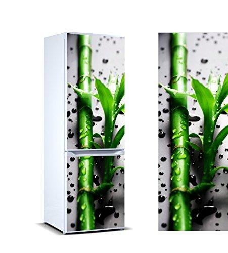 Pegatinas Vinilo Frigorífico Rama bambú Gotas Agua