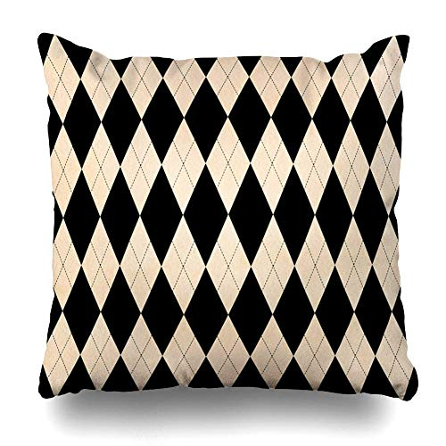 Decorative Throw Pillow Cover Fawn Black Watercolor Beige Diamond Pattern Geometrical Argyle Buff Checked Classic Color Cream Sandy Zippered Design 16
