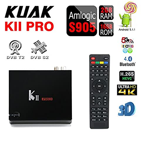 KUAK KII PRO DVB T2 S2 TV Box Amlogic S905 Quad Core Android 5.1 2G RAM 16G ROM