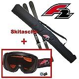 F2 Skitasche für 1 Paar Ski bis 190 cm + Skibrille F2 FTWO Schwarz orange Getönt UV 400 Schutz Brille Skisack Skier Tr