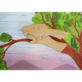 Hölzernes Puzzle-Papagei geformtes Pädagogisches DIY Woodcraft Spielzeug-Gehirn-Teaser-Spiel für Kleinkind Scherzt Qualität 3 Stücke Puzzlespiel