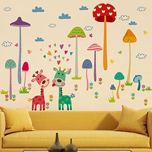 Preisvergleich Produktbild HSNZZPP Wandaufkleber Aufkleber Kreative Wohnwand Wohnzimmer Kinder Kindergarten Sofa TV Dekoration Niedlichen Cartoon Tier Waldpilz