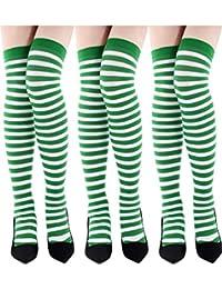 Hicarer 4 Paia Calza di San Patrizio Calzini al Ginocchio per Vacanza Bianco Verde Calze a Righe per Accessorio per Costume da Festa Irlandese 4 Stili