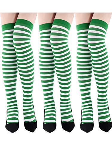 Kostüm Streifen Grüne - Blulu 3 Paar St. Patrick's Tag Socken Grün Shamrock Gestreift Kniestrümpfe Irisches Kostüm Socken für Damen Mädchen Party Favor (Stil Set 2)