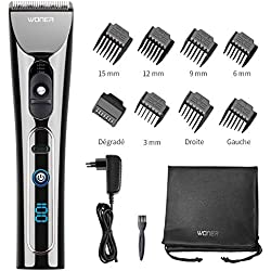 WONER Tondeuse Cheveux Tondeuse Barbe Hommes Professionnelle Turbo 2 Vitesses Écran LED Sans Fil Batterie Rechargeable Lithium ion 2000mAh