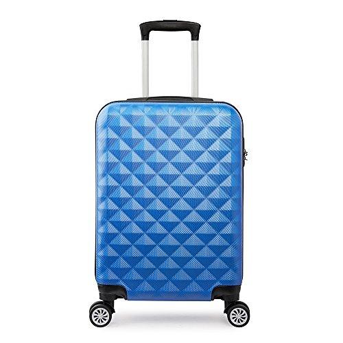 Valise Cabine ABS Trolley Rigide Légère avec 4 Double Roues Bagage à Main Bleu