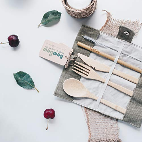 Bamboo Cutlery Set| Travel Cutlery Set | Eco Friendly Flatware Set | Knife, Fork, Spoon and Straw| Wooden Cutlery Set | Camping Cutlery Set with Travel Pouch | 20 cm | Olive | Bambaw