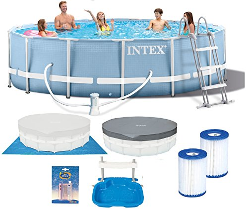 INTEX 457x107 cm Prism Metal Frame Swimming Pool Schwimmbecken 28734 Komplett-Set mit Extra-Zubehör wie: Filterkartusche, Reparaturset und Fußbad