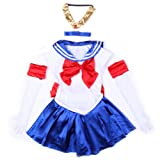 Sexy 5tlg Cosplay Sailor Venus Kostuem Schulmaedchen-Matrose Uniform Cosplay -