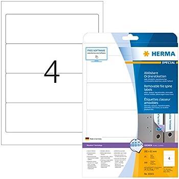 10 Blatt HERMA Special 10835 Recyclingpapier 40 Ordneretiketten 192 x 61 mm