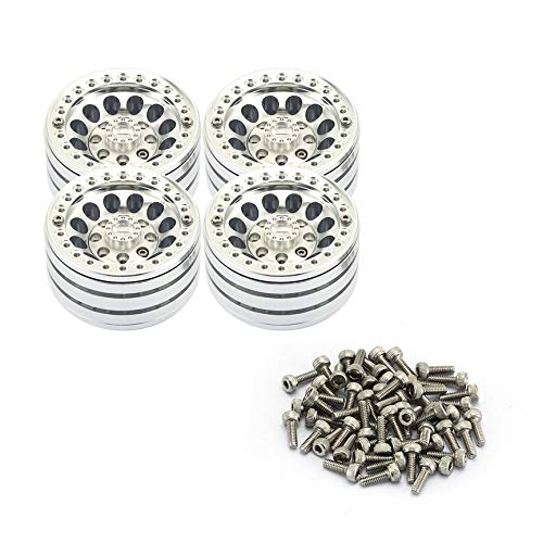 Peanutaod 4 STÜCKE 1,9-Zoll Schwere Aluminium Alloy Lock Reifen Nabenräder Felgen Set Beadlock Räder Felgen Für RC Crawler 1/10 SCX10 90046 TRX4 D90