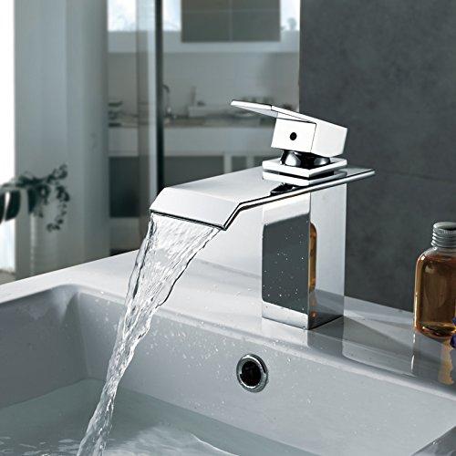 Homelody – Wasserfall Waschtisch-Einhebelmischer, ohne Ablaufgarnitur, breiter Auslauf, Chrom - 7