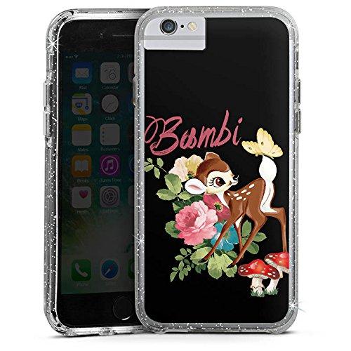 Apple iPhone 6s Plus Bumper Hülle Bumper Case Glitzer Hülle Disney Bambi Merchandise Fanartikel Bumper Case Glitzer silber