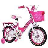 Biciclette Bambini,Bici Bici Principessa Ragazza 12 14 16 18 Pollici 2-10 Anni -Rosso Ciliegia 45.3inch