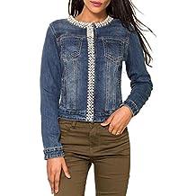 jeansjacke damen mit perlen strass