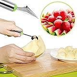 PIPIHUA 2 en 1 Baller Pala Cuchara Frutas Vaciador,Cuchara para melón de Doble Uso en Acero Inoxidable (Naranja)