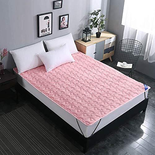 Schlafmatte bequeme Matratze Baumwolle rutschfeste Matratzenauflage, hypoallergene faltbare wasserdichte Bambusabdeckung Bettdecke Schlafmatte Schlafunterlage Schlafzimmer Bettauflagen - Rosa 150x200 -