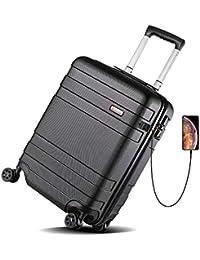 REYLEO Set di 3 Valigie & Valigia Cabina da 20 pollici con porta USB, Valigetta Trolley ABS con Guscio Rigido con 4 Doppie Rotelle 360° Serratura TSA Integrata