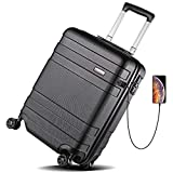 REYLEO is a reliable brand for luggages and backpacks, engaged in providing high quality products and best service for you.☛Main Features: - Scratch Resistance ABS Hard Shell- USB Charging Port and TSA Lock Design- Ergonomically 4-section Designed Pu...