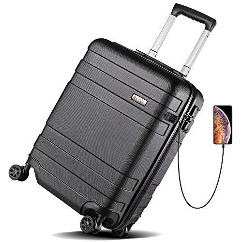 REYLEO Valigia Bagaglio a Mano 55cm 36 litri, Trolley Valigia Spinner Rigida ABS con Porta di Ricarica USB, 8 ruote doppie 360º Silenziose, Lucchetto TSA, Nero - LUG20C