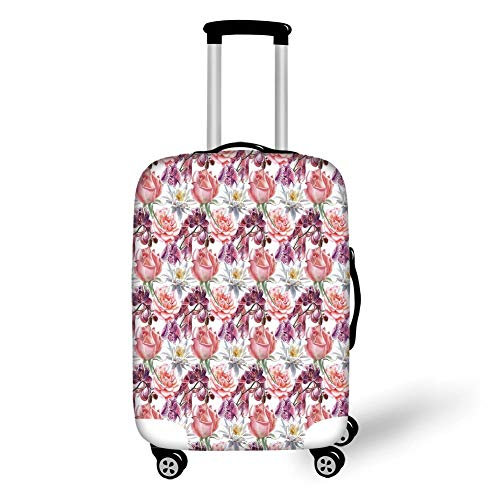 Travel Luggage Cover Suitcase Protector,Floral Decor,Watercolor Rose and Orchid Lily Flowers Motif Nature Inspired Petals Artwork,Pink Coral,for Travel,M