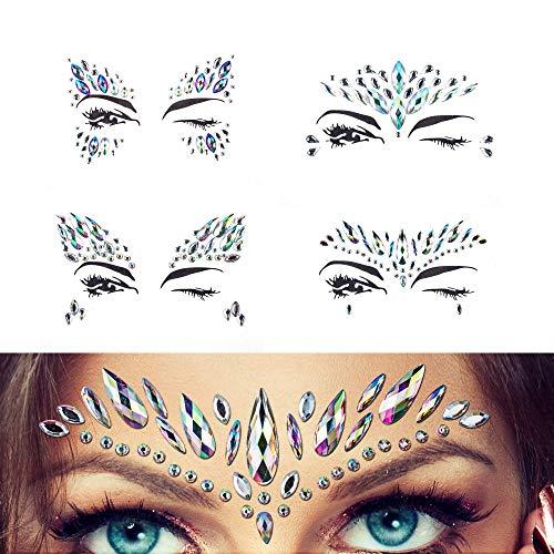 (Juwelen Aufkleber Gesicht Strass Tattoo Körper Kristall Glitter Edelstein Für Festival Parties Shows Make-Up Haut Kunst 4 Stück)