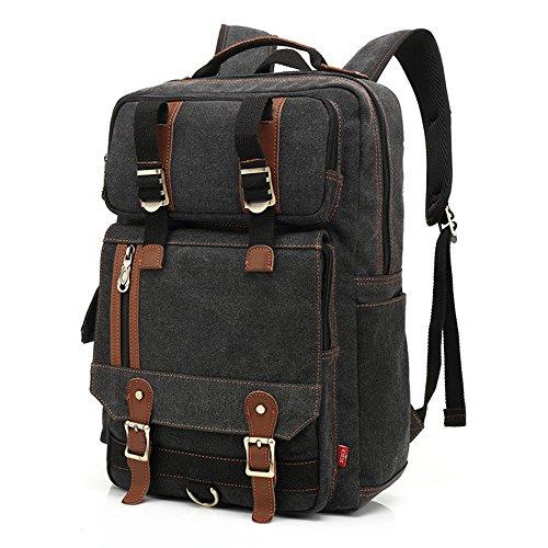 Moda unisex tela zaino borsa da viaggio scuola all' aperto 40,6cm spalle borse nero, Grey, M Black