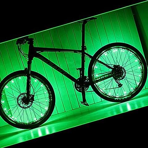 PAMASE 2 Packs Waterproof Bike Wheel Light - 20 LED Lamp Bead Strip for Bicycle Spokes and Rims(Green)
