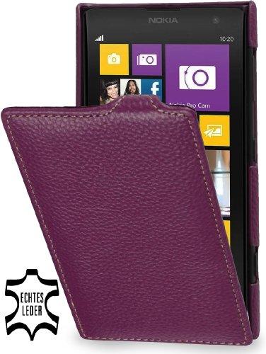 StilGut, Esclusiva Custodia UltraSlim in Vera Pelle per Nokia Lumia 1020, Porpora