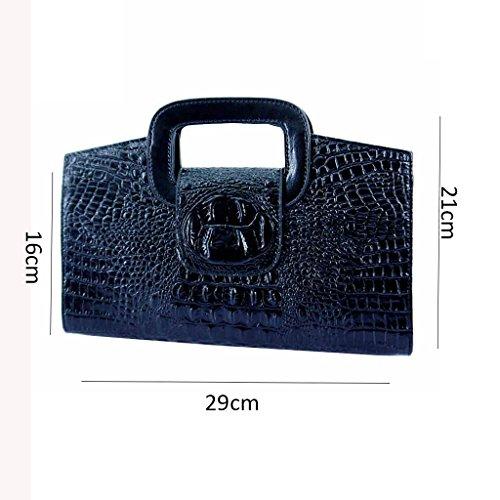 La piccola borsa diagonale nuova pelle europee e americane modello coccodrillo frizione moda femminile marea borsa a mano ( Colore : Bianca ) Nero