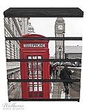 Wallario Möbelfolie / Aufkleber, geeignet für Ikea Malm Kommode - Rote Telefonzelle in London, England, mit Big Ben mit 4 Schubfächern