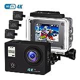 VTIN Action Kamera 4K Camera WIFI sports cam 170°Ultra-Weitwinkel 2'LCD Unterwasserkamera...