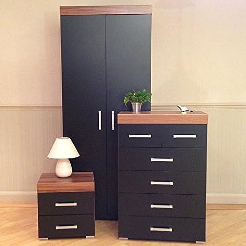3 Piece Black & Walnut Bedroom Furniture Set - Wardrobe, 4+2 Drawer Chest, 2 Drawer Bedside Cabinet