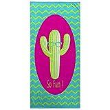 Ligne Décor Serviette DE Plage 70 x 150 CM Eponge Velours Imprime Cactus Fun, Coton, Multicolore, 150x70 cm