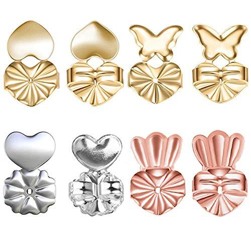 Ohrring Saugheber Rücken 4 Paar Magic Ohrring hebt Verstellbare Kopfstütze Hypoallergen Sicher Raise gedehnt die Sperren Lobes Ohrringe Schmuck Ergebnisse für Frauen (2 Gold + 1 Silber + 1 Rose Golden -