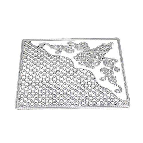 Bodbii Grid Hintergrund Square Frame Ecke Windung DIY Präge Schablonen Gruß Geburtstag Karte Dekoration Metall Stahl Stanzformen