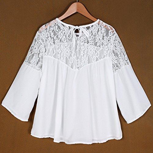 Damen Beiläufige Tops Lace Spliced Bluse Blusen Lose T-Shirt Shirt Als Bild